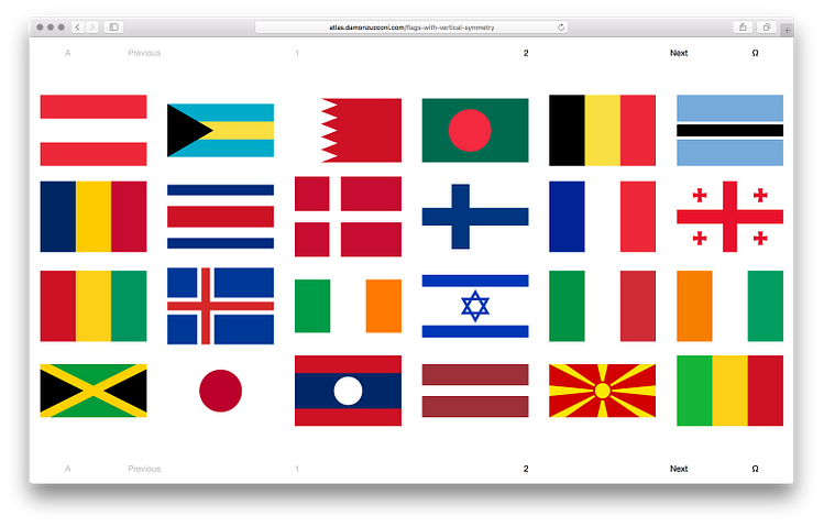 Damon Zucconi, Flags of Sovereign States Organized By Their Symmetries, 2015